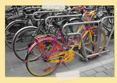 Image of a wildly colored bike among gray ones