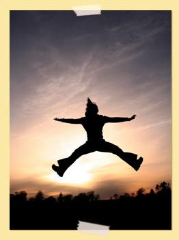 Photo of person jumping for joy