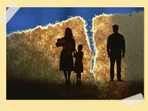 Conceptual image of torn family