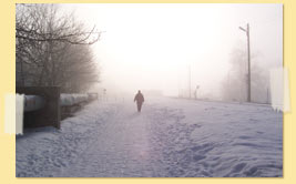 Image of a figure walking in snow